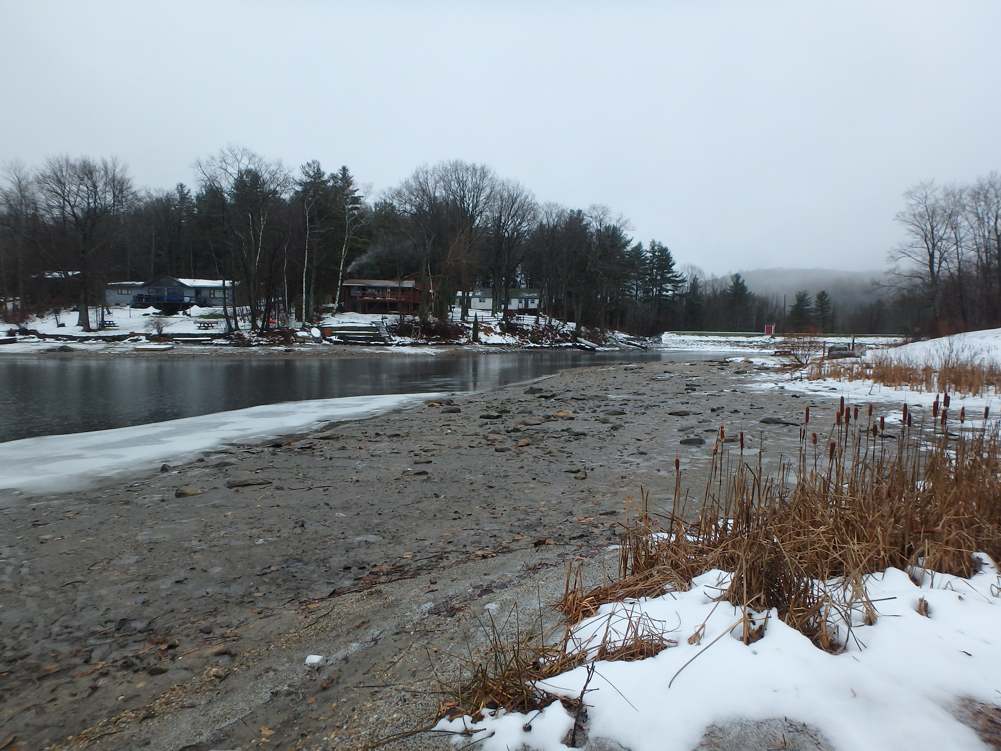 Goose Pond (Tyringham, MA) undergoing a winter drawdown
