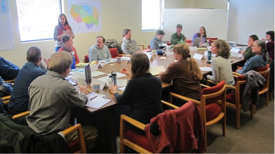 Participants at workshop exploring collaborative management in the Deerfield watershed