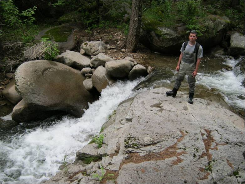 Bradley Kalb working on the Rio Ruidoso of the Mescalero Apache Reservation in New Mexico