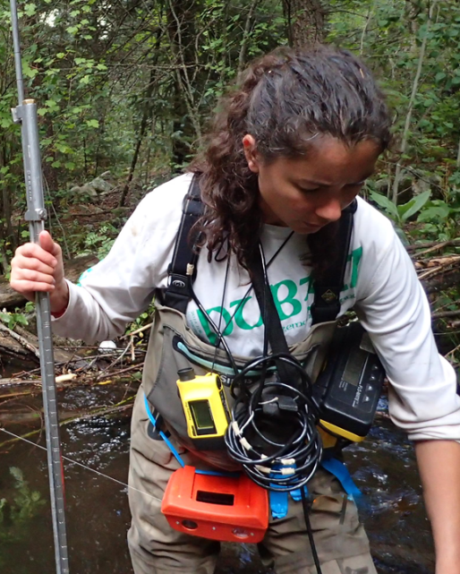 Lauren Flynn working in her study stream in northern New Mexico to evaluate the effects of non-native Brown Trout on Rio Grande Cutthroat Trout
