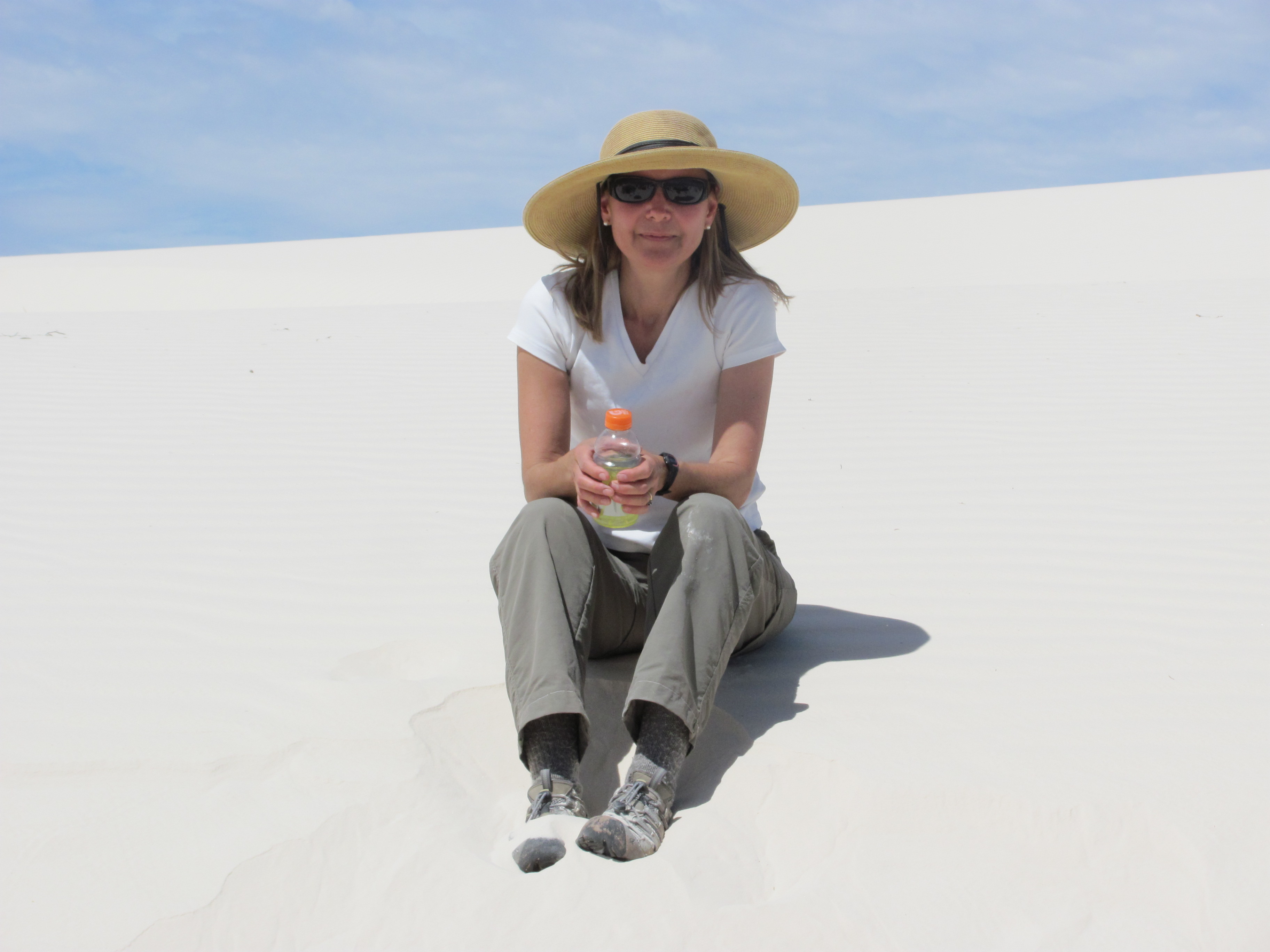 Colleen Caldwell chilling on White Sands National Monument