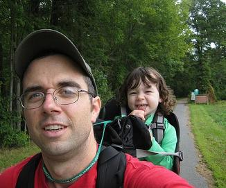 Conor McGowan on a hike with his daughter.