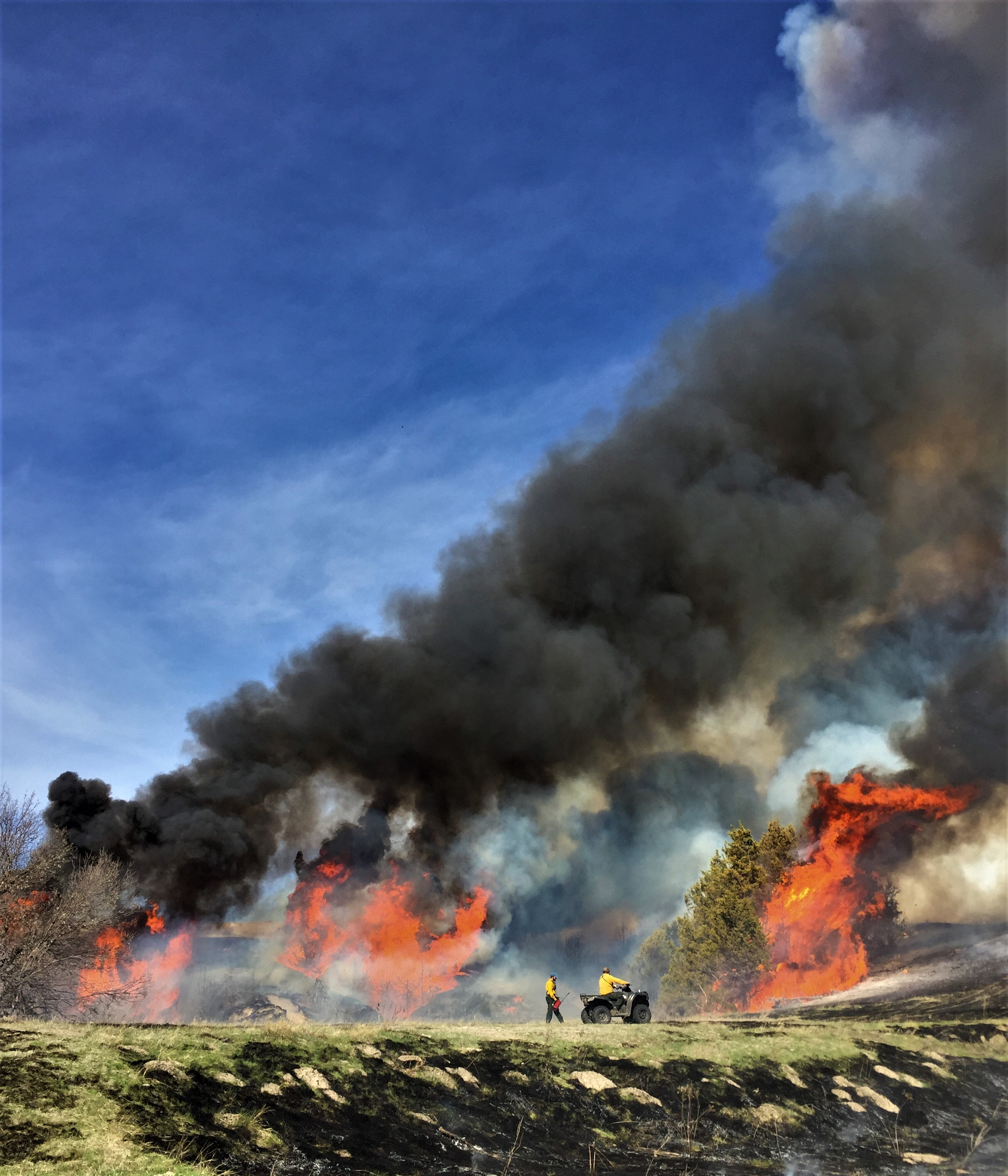 Prescribed fire in the Loess Canyons of Nebraska, USA.