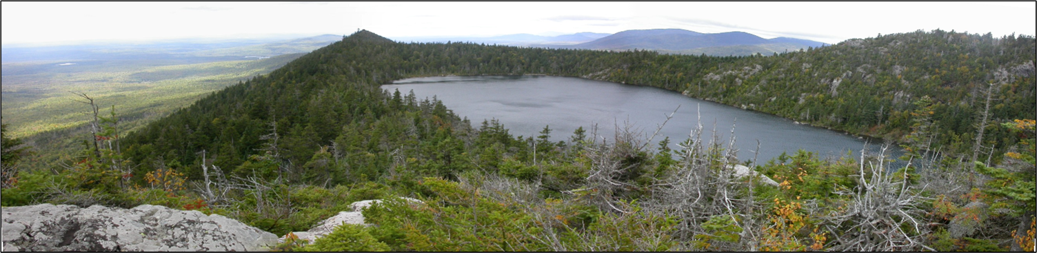 Photograph overlooking Crater Lake, one of western Maine's naturally fishless high elevation lakes.