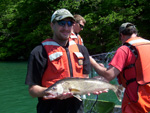 Dustin Smith with Cheat Lake walleye