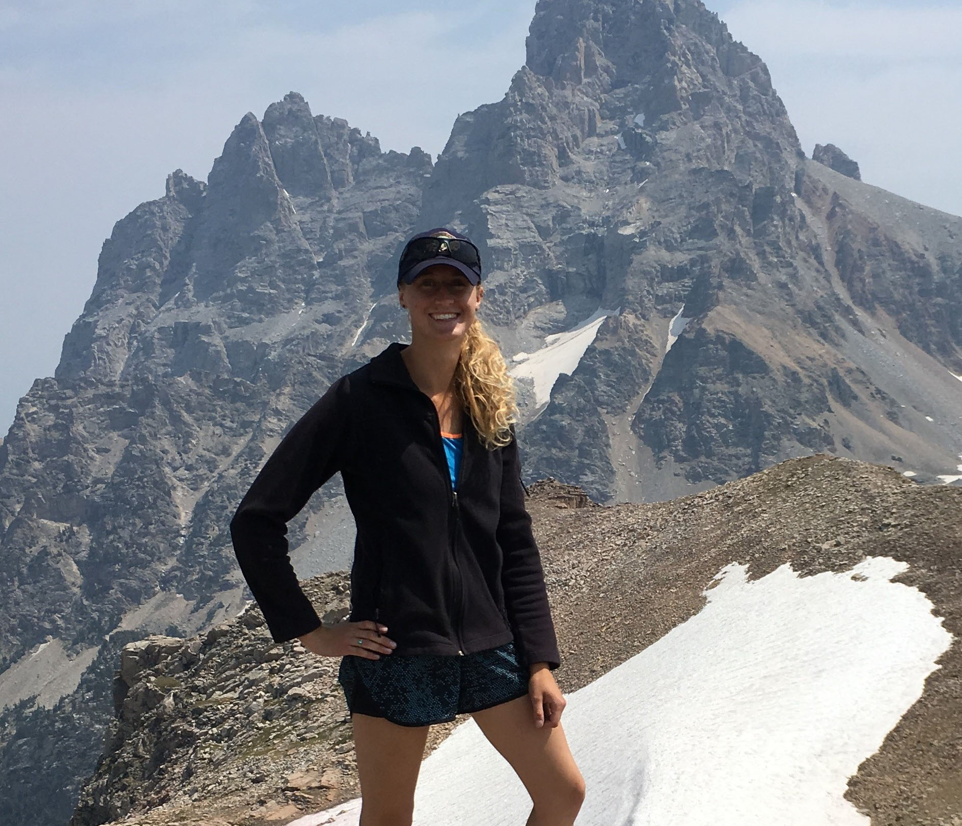 Emma Doden hiking in the Grand Tetons