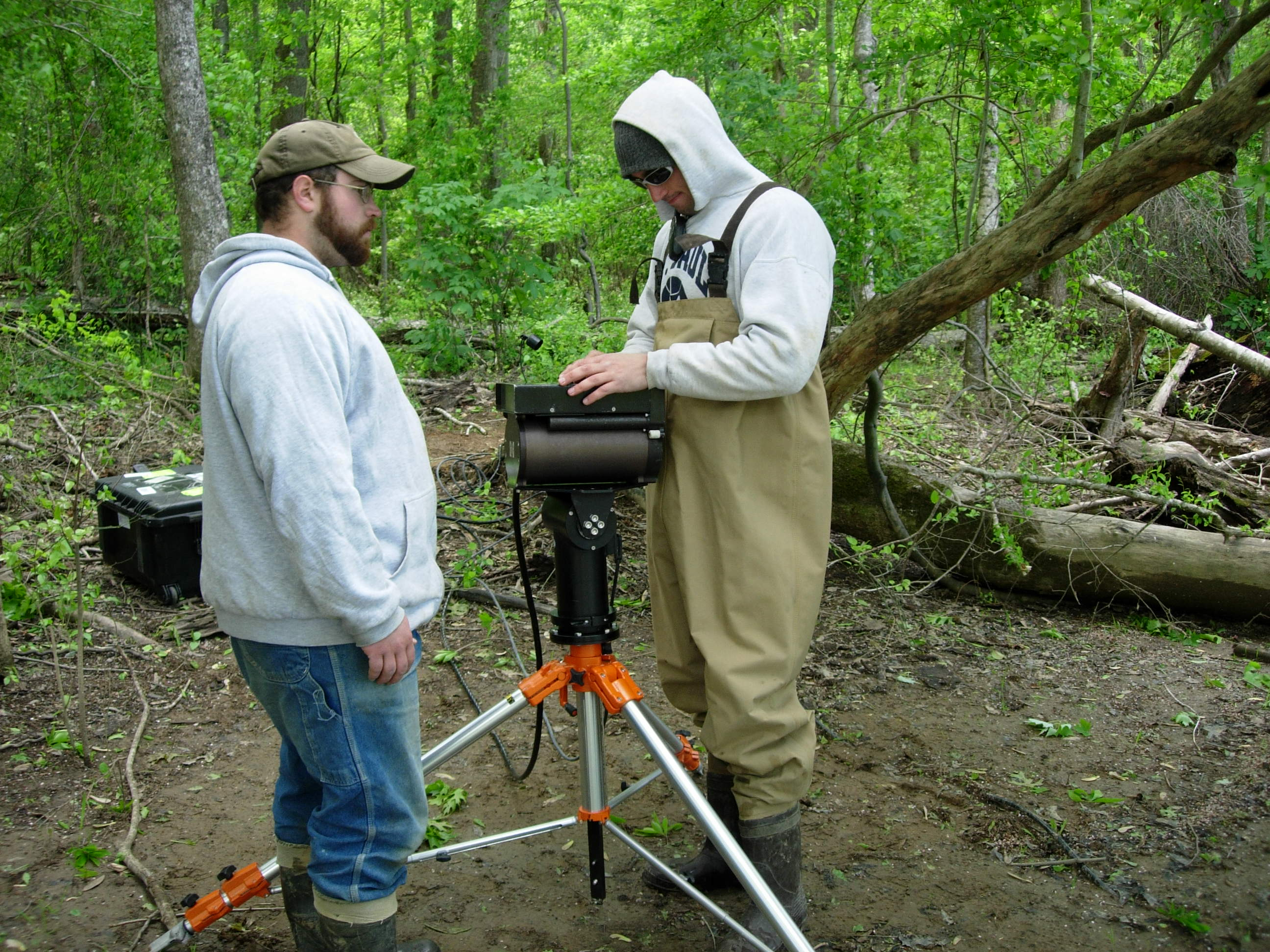 Setting up DIDSON sonar system for deployment in Roanoke River