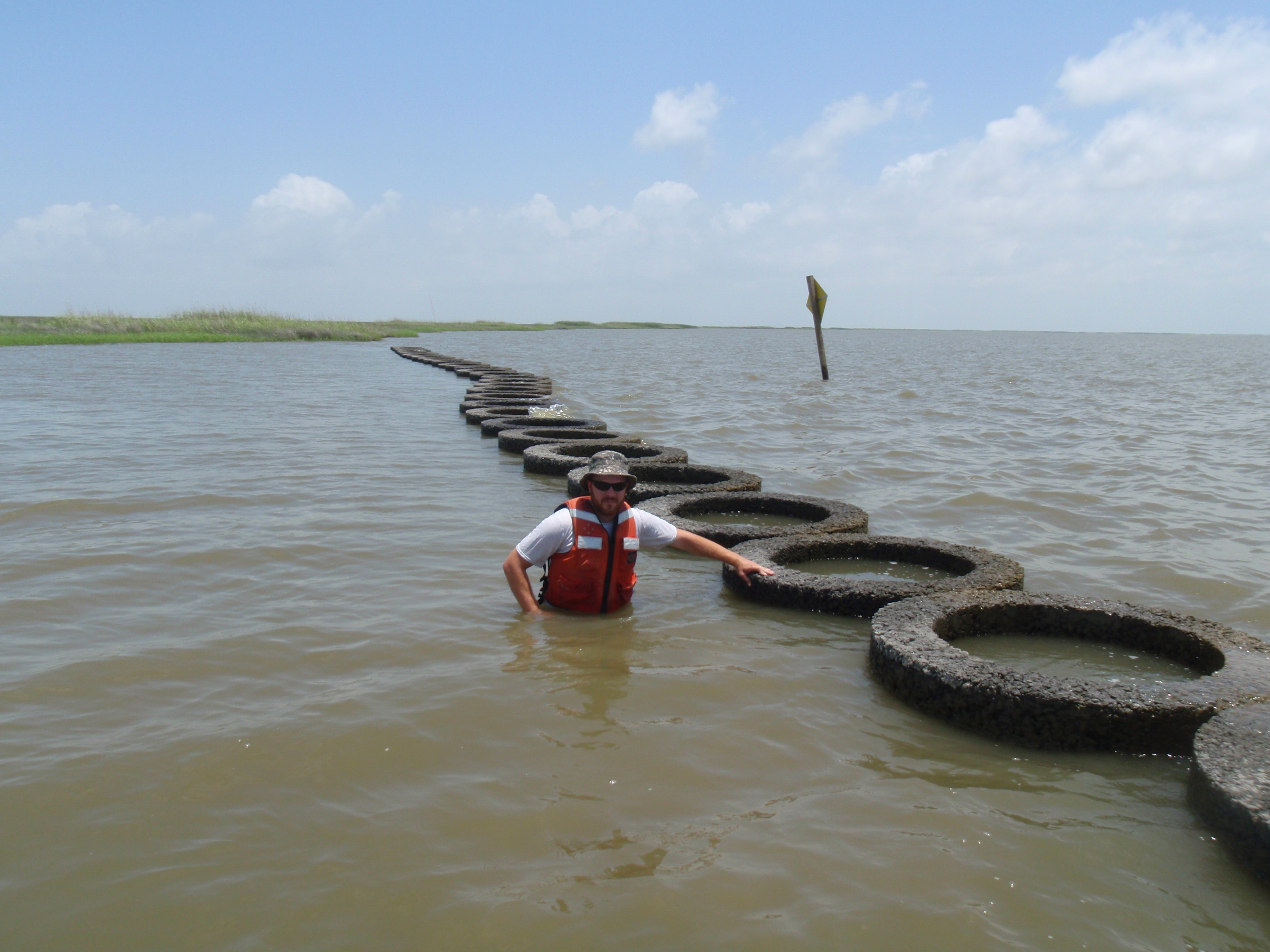 Oysterkrete rings placed in Vermilion Bay, LA to examine the use of bio-engineered rings to establish a living shoreline.  Graduate student Steve Beck examines the rings.