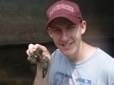Matt Nolen with a large northern crayfish