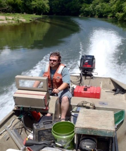 Travelling to a sampling site on the Caney Fork River.